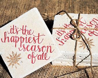 Christmas Coasters, Lyrics Coasters, Christmas Gift, Holiday Coasters, White Elephant Gift, Set of 4 Coasters, Tile Coasters, Stone Coaster