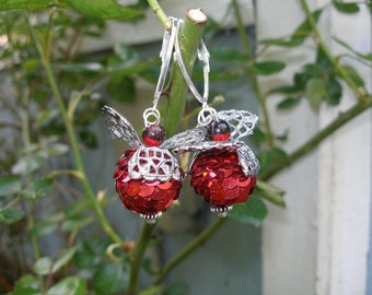 Red angel earrings--chunky, weightless flyers   etsyBead, OlympiaEtsy, SupportingArtists, FunkyAlternativeJewelry, WWWG