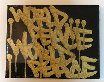 World Peace Gold Black Canvas