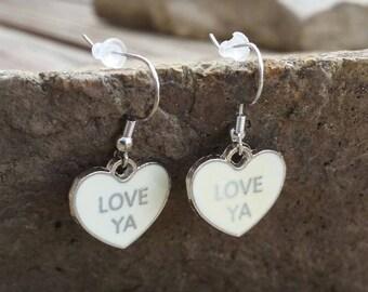 White Heart Love Ya Charm Earrings, Valentine Conversation Heart Jewelry, Enamel Charm Drop Earrings, Women's Dangle Earrings, Gifts for her