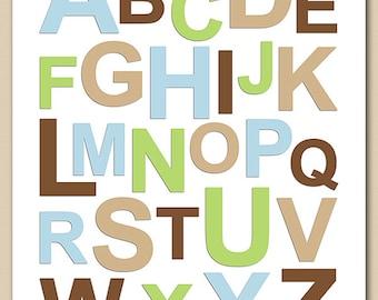 Blue and brown alphabet nursery wall art, kids Art Print - 8x10 - Baby boy Room Decor, playroom, brown, tan, blue, green, alphabet -UNFRAMED