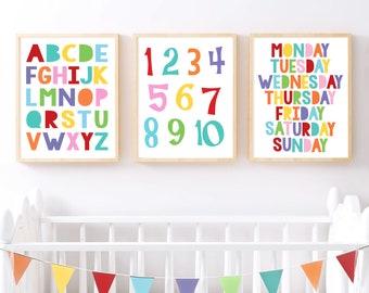 colourful nursery art print set educational - alphabet print ABC poster, colours print, number wall art, days of the week, fun play room art