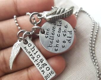 Marathon running necklace, running jewelry, running necklace, sole sister,marathon necklace,  marathon jewelry, XC,