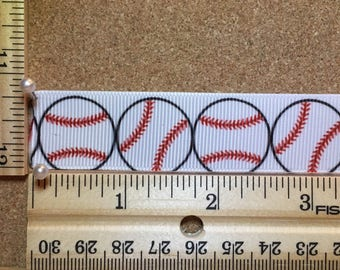 White Baseballs with Red Stitching 7/8 Grosgrain Ribbon