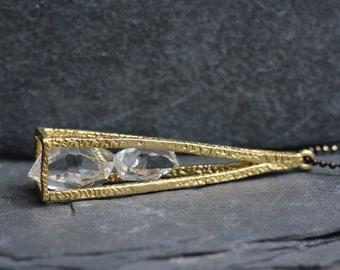 Herkimer Diamond Pyramid Cage Necklace