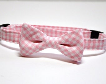 Pink Gingham Bow Tie, Boy's Bowtie, Pink Bow Tie, Wedding, Ring Bearer Outfit