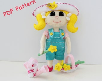 Doll Sewing Pattern, Download Doll & Gardening Outfit, Sewing Pattern, Toy Pattern,Doll Pattern,Doll Tutorial,Felt Doll Pattern. Plush Doll.
