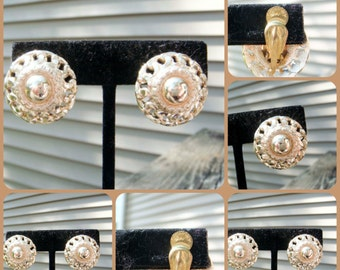 Vintage West Germany Clip On Earrings Gold Toned