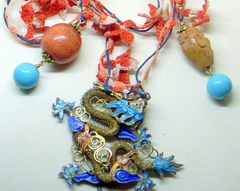 Antique Chinese Dragon Necklace - Silver And Gold - Blue Coral Turquoise Enamel Dragon- Great Condition - SALE