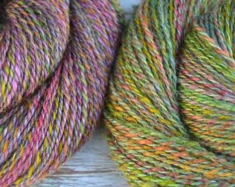 Handspun Yarn Duo, Worsted weight - WHIMSICAL FOREST - Hand dyed Wensleydale/BFL/Merino/Silk, 358 yds total, hand spun yarn, gift for weaver