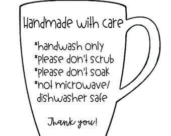Care Instructions For Mugs and Cups Digital Files