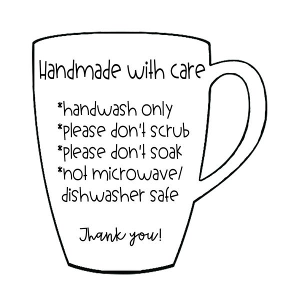 Care instructions for mugs and cups digital files for Dishwasher safe vinyl lettering