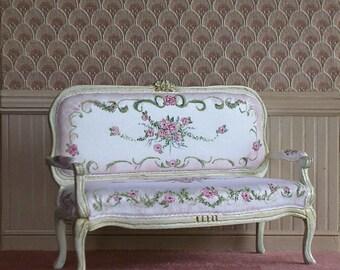 Dollhouse miniature French loveseat
