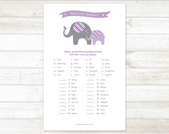 baby girl shower game printable purple elephant matching game who's my mommy baby girl shower digital games - INSTANT DOWNLOAD