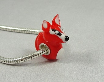 Red Fox Large Hole Lampwork Glass Bead - 925 Sterling Silver European Bead Charm