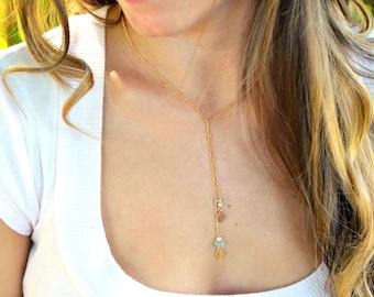 Gold Lariat, Gold Lariat Necklace, Stone Lariat Necklace, Aquamarine Stone Necklace, 14kt Gold Filled