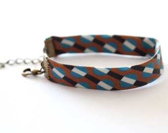 Blue and Brown geometric pattern fabric bracelet