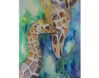 New mom gift Giraffe Nursery wall Art painting the nursery watercolour Girls Room Nursery wall decor  boy girl room  Baby Art Kids Room
