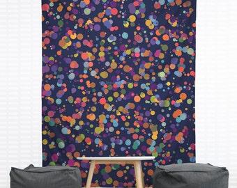 Dots, Dots and More Dots Hanging Wall Tapestry. Polka Dot Dorm Decor, Polka Dot Wall Tapestry, Blue Wall Tapestry, Colorful Dot Tapestry
