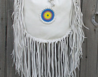 Leather boho handbag,  tote , Leather handbag , Fringed leather tote, Beaded sunburst rosette , custom handbags , designer handbags