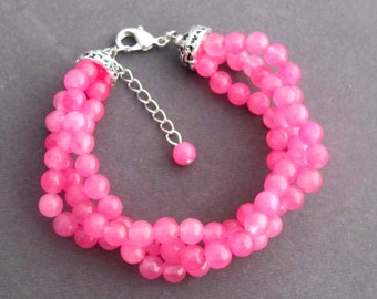 Coral Pink Pearls Bracelet, Glass Pearl Twisted Bracelet,Coral Pink Bridal Bracelet Jewelry,Bridesmaid Wedding Jewelry, Free Shipping In USA