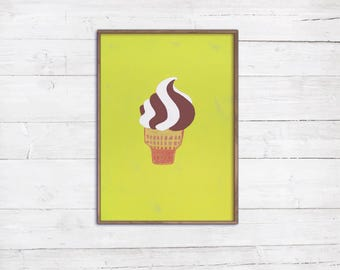 A4 Softeis Illustration Malerei Poster Print Eis Schleckeis Waffel Schoko Vanille Wanddeko Dekoration Küche Esszimmer Café Sommer