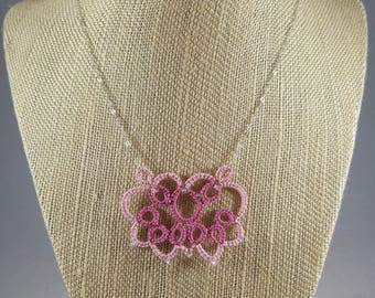 Lace Butterfly Tatted Necklace, Rose pinks, Handmade lace jewelry, Sterling silver chain, 18""