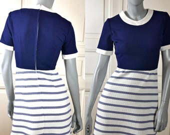 1970s Nautical Maxi Dress, Navy Blue White Finnish Vintage Long Dress, Short Sleeve Retro Mad Men Party Hostess Dress: 4 (US), Size 8 (UK)