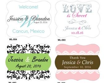 154 - 2.5 x 2 inch Die Cut Mini Wine Bottle Wedding Waterproof Labels - change hundreds of designs any color, wording etc