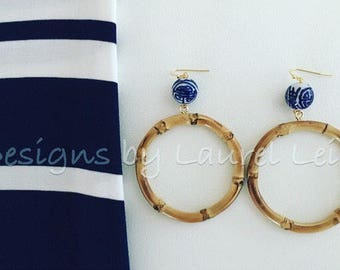 Bamboo Earrings | Chinoiserie, blue and white, round, hoops, gold, dangle, statement earrings