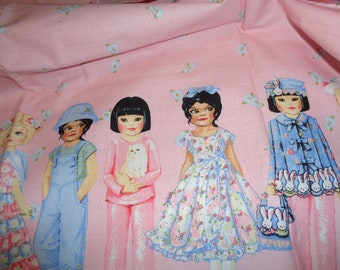 Patty Reed Paper doll fabric remnant pink