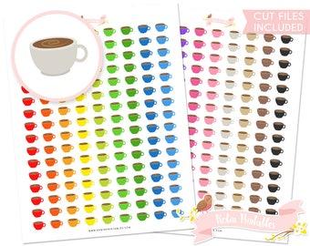 Espresso Coffee Printable Planner Stickers, Erin Condren, Coffee mug sticker sheet, cute coffee cup. Personal Use Download Sticker PDF