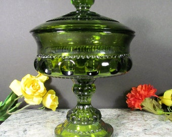 Kings Crown Thumbprint Pattern, Vintage, Colony, Green Glass, Compote with Lid, Covered Candy Dish, Indiana Glass
