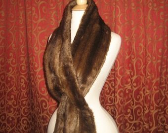 "1950's, 60"" long, faux mink scarf.Vegan"