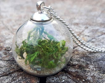 Moss Necklace, Terrarium Jewellery, Forest Necklace, Green Plant Necklace, Nature Lover, Boho Necklace, Nature Jewellery, Woodland Jewellery