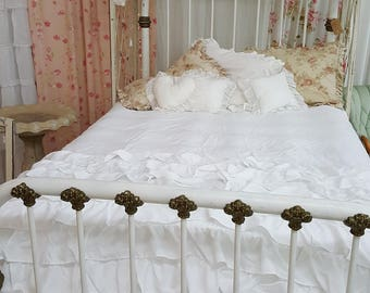Antique White Metal Bed Frame
