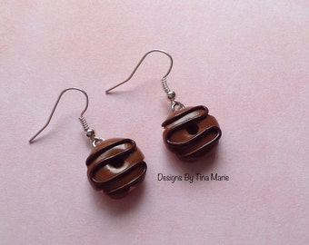 Milk & Dark Chocolate Donut Earrings Miniature Food Polymer Clay Charms Cute Fimo Charms