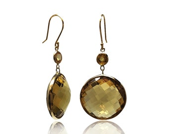 Round 39 cttw Citrine Sapphire 14K Yellow Gold Dangle Earrings Gemstone Birthstone Drop Earrings