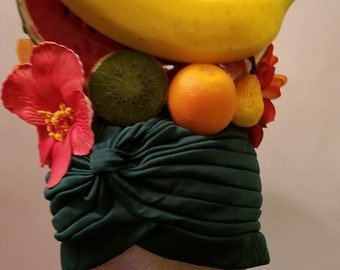 Carmen Miranda, Fruit, Fruit turban, Faux fruit, Faux fruit turban, Halloween, Burlesque, Pinup, Tiki, Turban