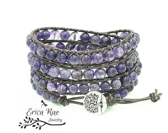 Amethyst gemstone leather wrap bracelet, beaded wrap bracelet, leather bracelet, boho leather wrap bracelet, tree of life jewelry, purple