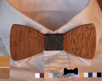 Noeud papillon enfant en bois noyer personnalisable ruban et message gravure, assorti au noeud pap adulte