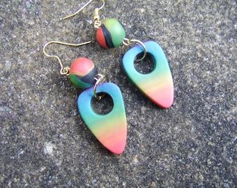 Rainbow Earrings. Polymer Clay Earrings. Geometric Earrings. Bright Earrings. Lightweight Earrings. Bead Earrings. Beaded Earrings Gift.