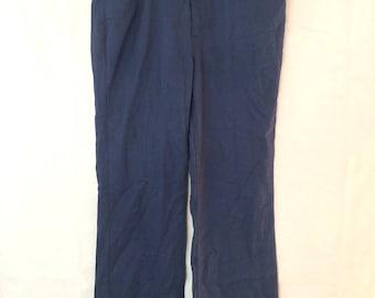 1970s Disco Pants - 34x29 - Levi's Gentleman Jeans - Navy Blue - Slacks - Bellbottoms