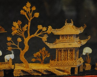 San You style Carved Cork in glass diorama shadowbox cranes and pagoda