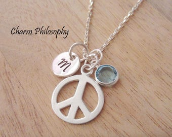 Peace Sign Necklace - 925 Sterling Silver Personalized Necklace - Hippie Gifts