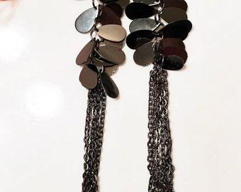 Gunmetal plated shiny black chain and charm extra long earrings, gunmetal chain earrings, black tasse chain and charm earrings