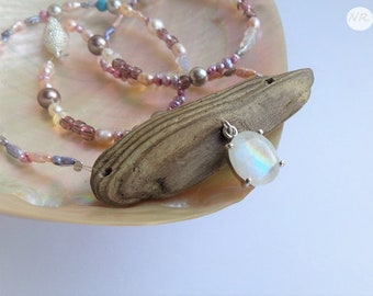 Summer Dream - driftwood, labradorite, opals & pearls