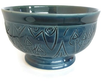 Unique bowl, ceramic bowl, handmade ceramic bowl, unique blue bowl, unqie cereal bowl, dark blue and turquoise bowl, chili bowl, blue bowl