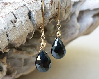 Black Mystic Spinel Earrings in Gold or Silver