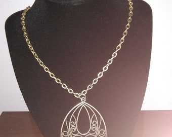 Chunky Silver and Gold Statement Necklace, with Large Pendant
